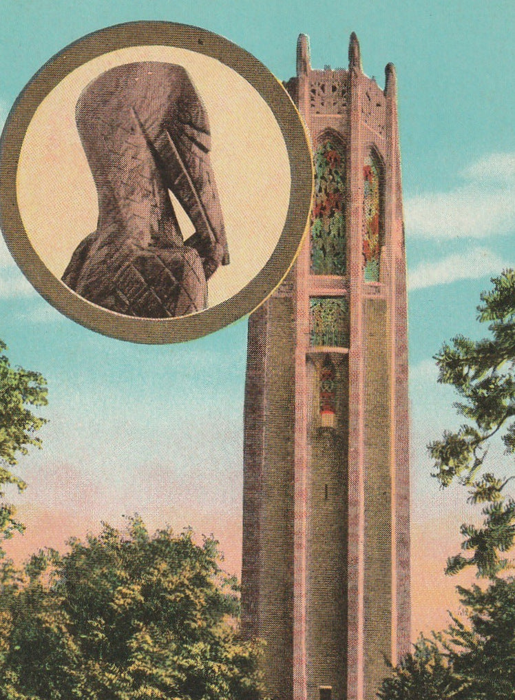 Singing Tower Lake Wales Florida Antique Postcard Close Up 2
