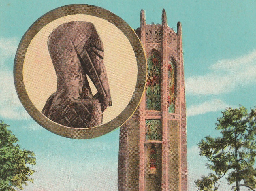 Singing Tower Lake Wales Florida Antique Postcard Close Up 3