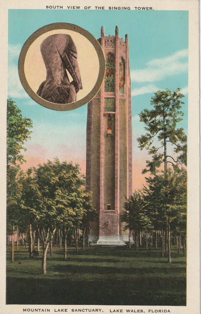 Singing Tower Lake Wales Florida Antique Postcard