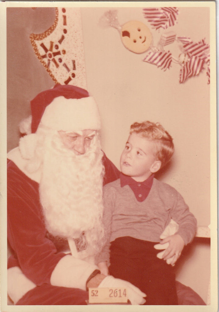 Sitting on Santa's Lap 1950s Color Photo