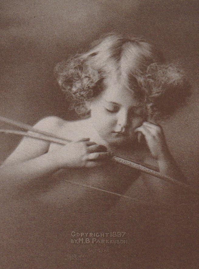 Sleeping Cupid M B Parkinson 1897 Antique Card Close Up