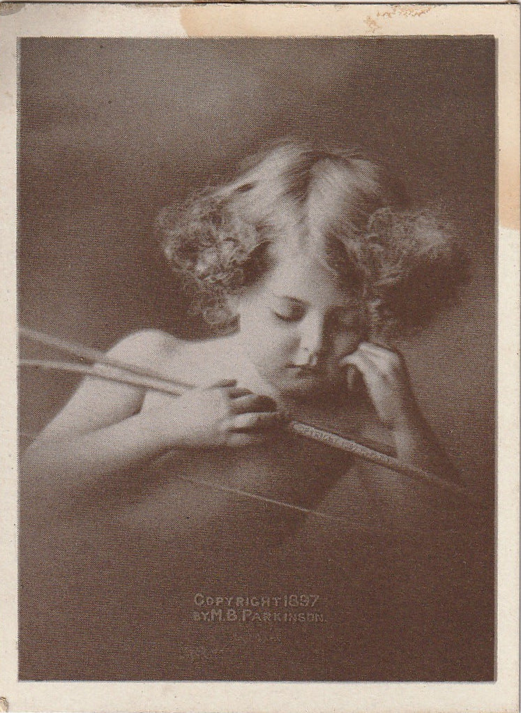 Sleeping Cupid M B Parkinson 1897 Antique Card
