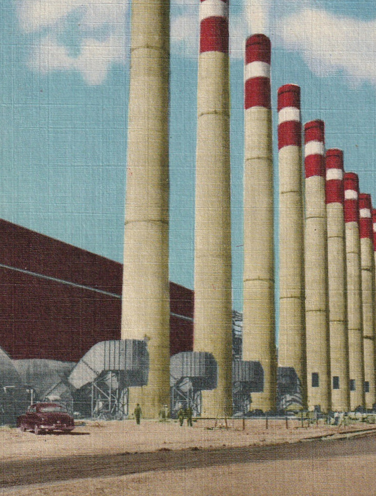 Smokestacks Shawnee Steam Plant Paducah KY Vintage Postcard Close Up