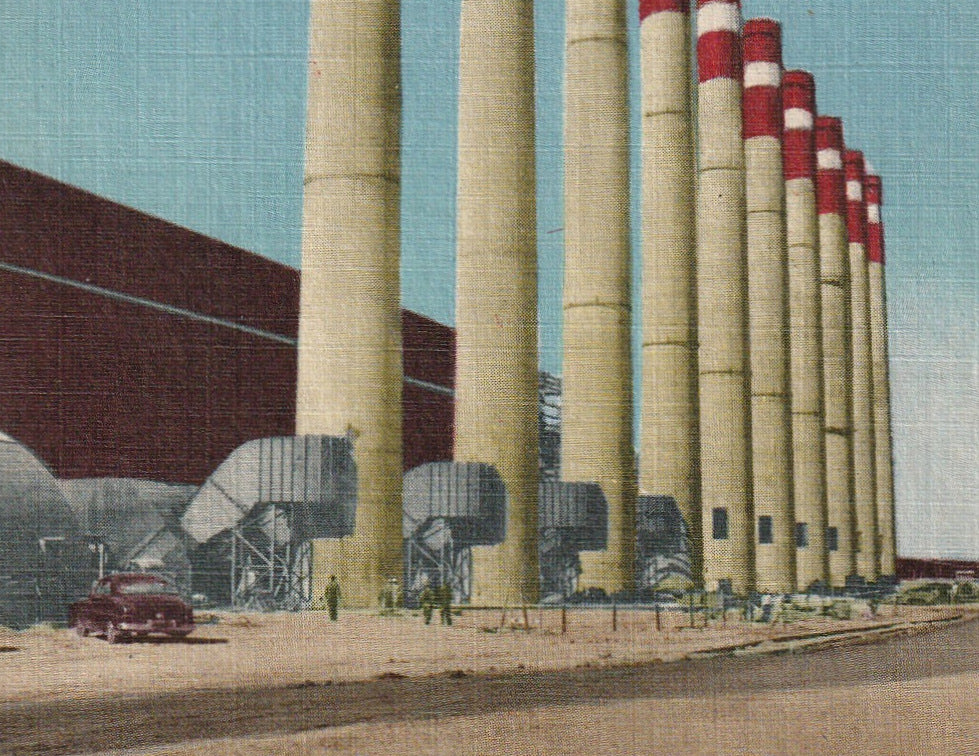 Smokestacks Shawnee Steam Plant Paducah KY Vintage Postcard Close Up 2