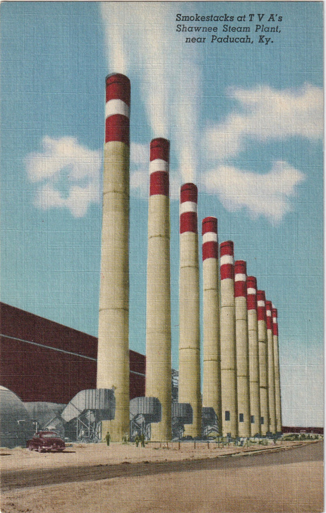 Smokestacks Shawnee Steam Plant Paducah KY Vintage Postcard