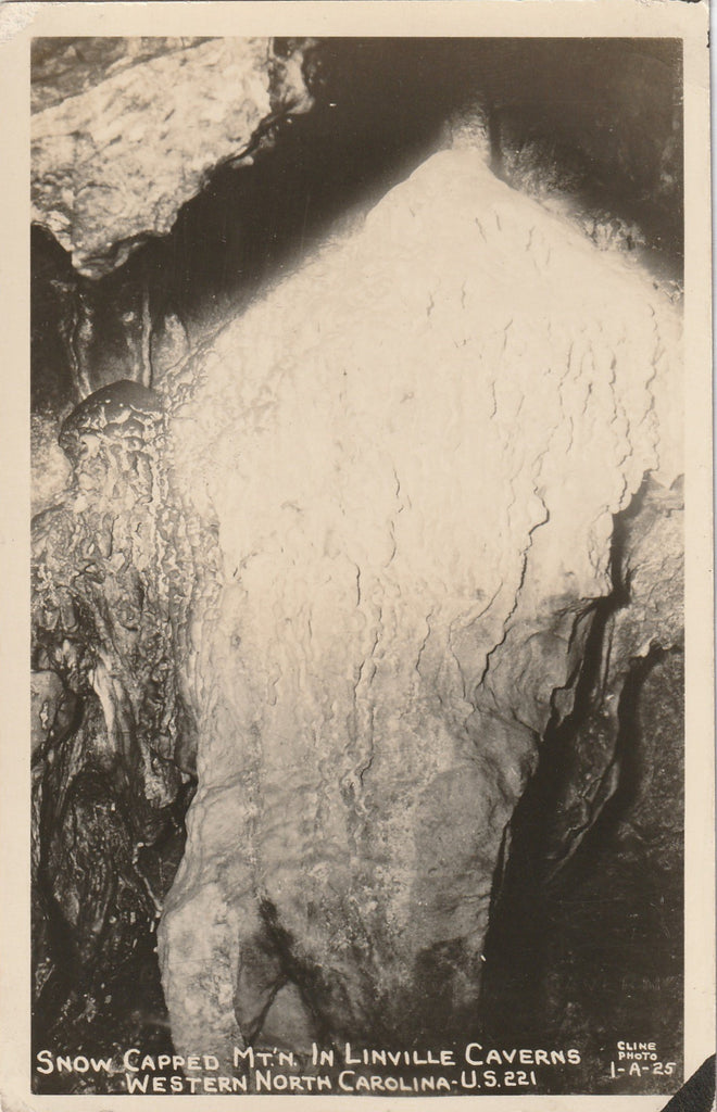 Snow Capped Mountain in Linville Caverns - Marion, North Carolina - RPPC, c. 1940s