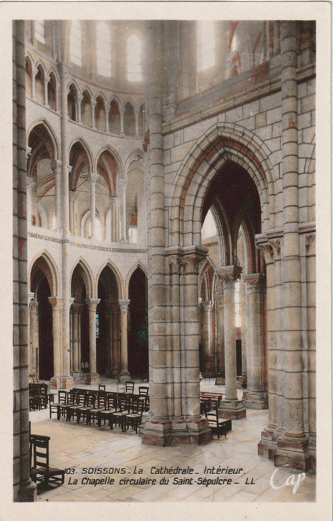 Soissons Cathedral, Circular Chapel of the Holy Sepulcher- Soissons, France - RPPC, c. 1930s