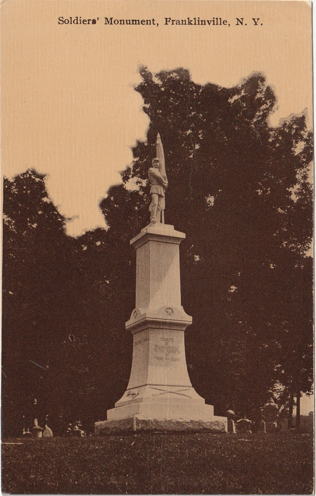 Soldier's Monument Mount Prospect Cemetery Franklinville NY Antique Postcard