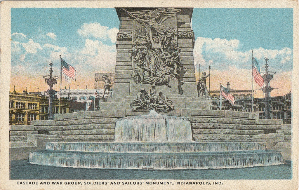 Soldiers and Sailors Monument Cascade Indianapolis Postcard