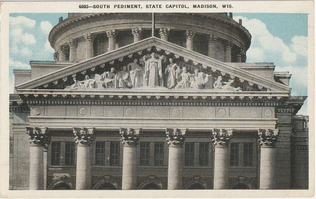South Pediment State Capitol Madison WI Postcard
