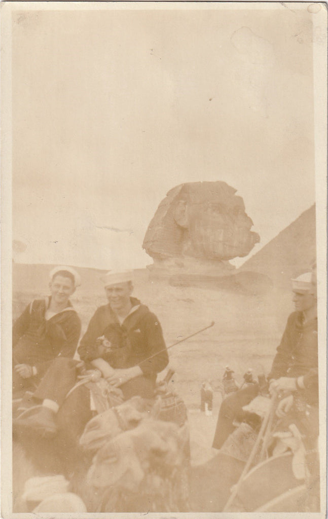 Sphinx and Sailors in Egypt Vintage RPPC