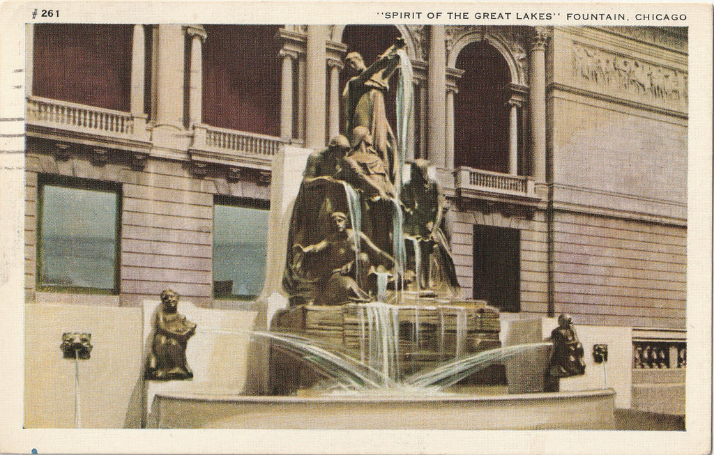 Spirit of the Great Lakes Fountain Chicago Postcard