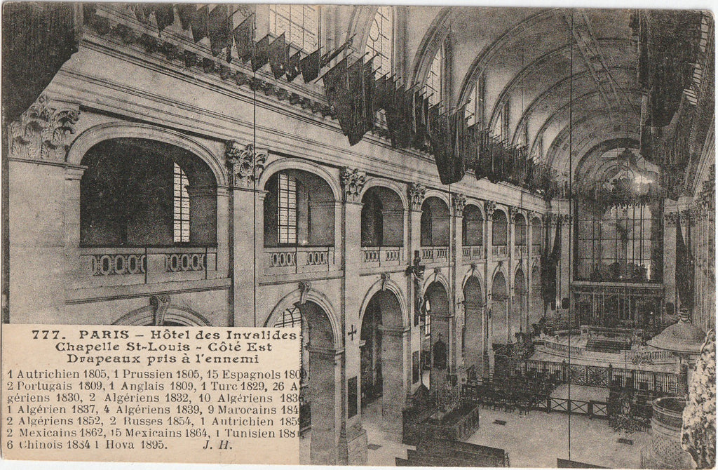 Flags Taken From the Enemy - St. Louis des Invalides Cathedral, Hotel des Invalides - The Army Museum, Paris - Postcard, c. 1900s