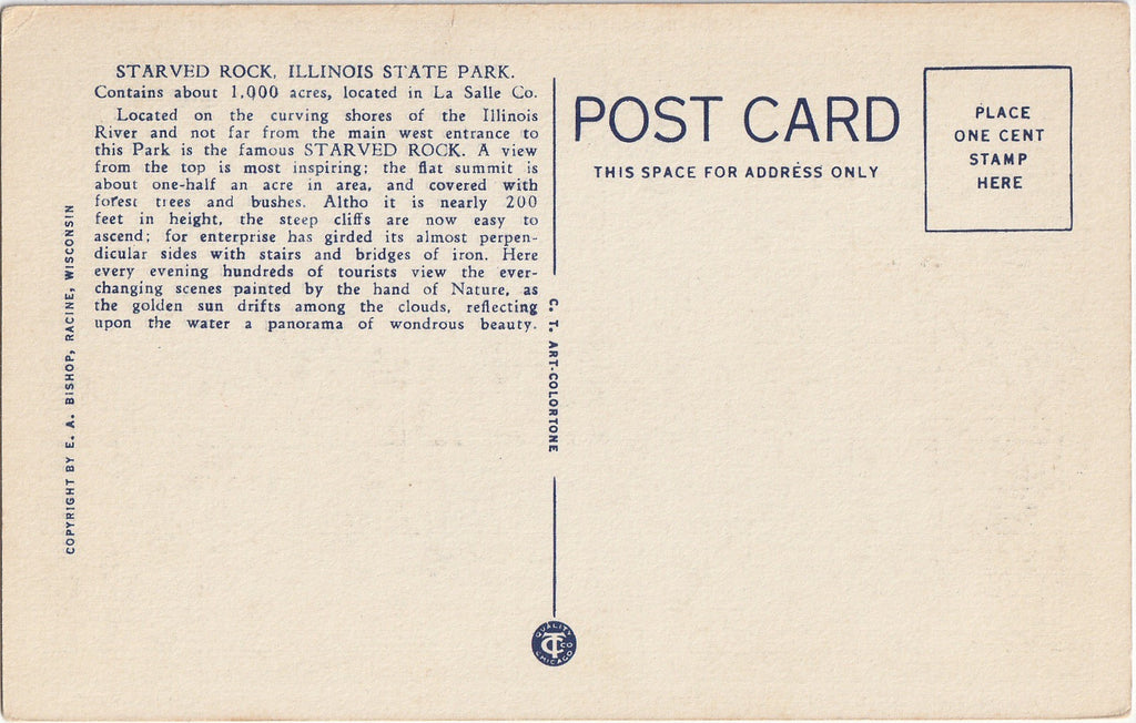 Starved Rock State Park Illinois Postcard Back