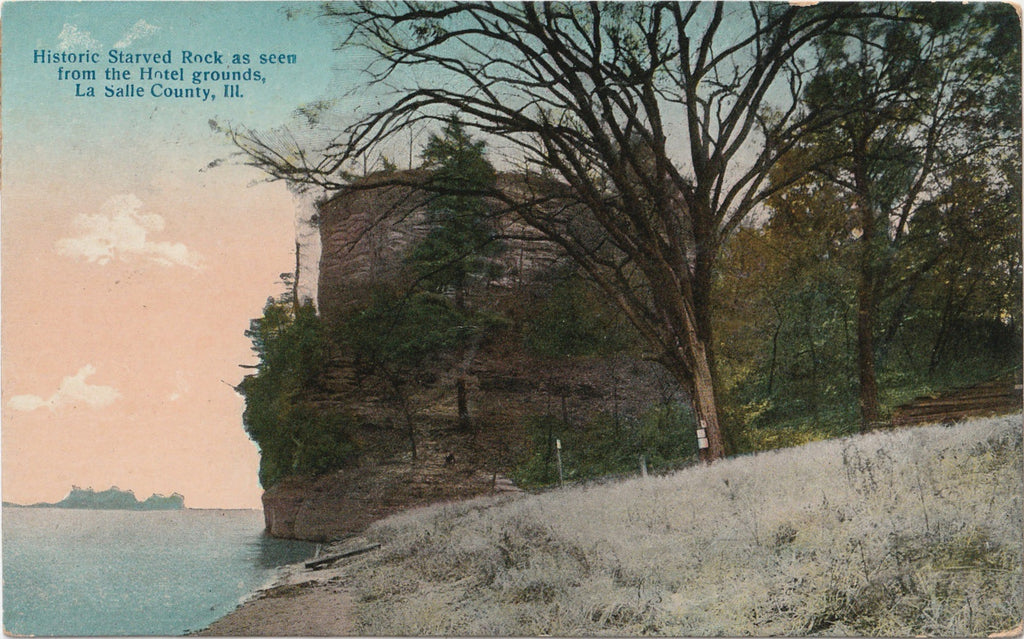 Historic Starved Rock Hotel Grounds Antique Postcard
