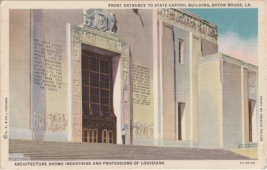State Capitol Building Entrance Baton Rouge LA Postcard