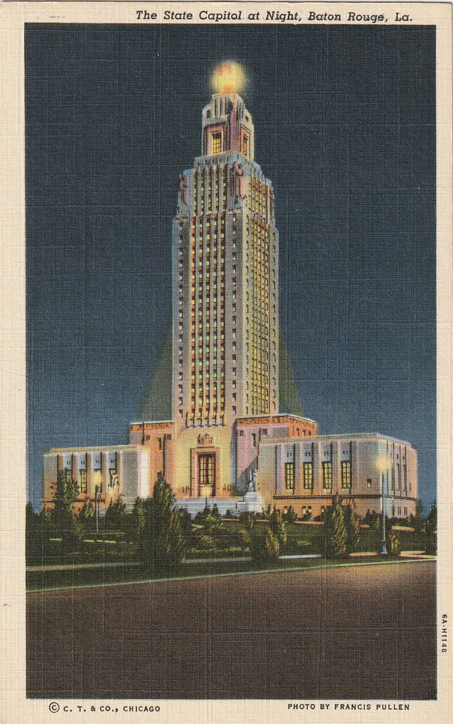 State Capitol Building at Night Baton Rouge LA Postcard