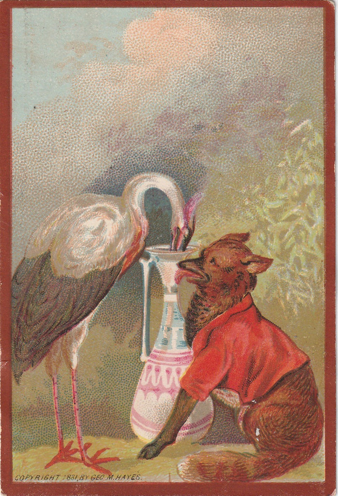 Stork and Fox Geo M Hayes 1881 Trade Card 1 of 2