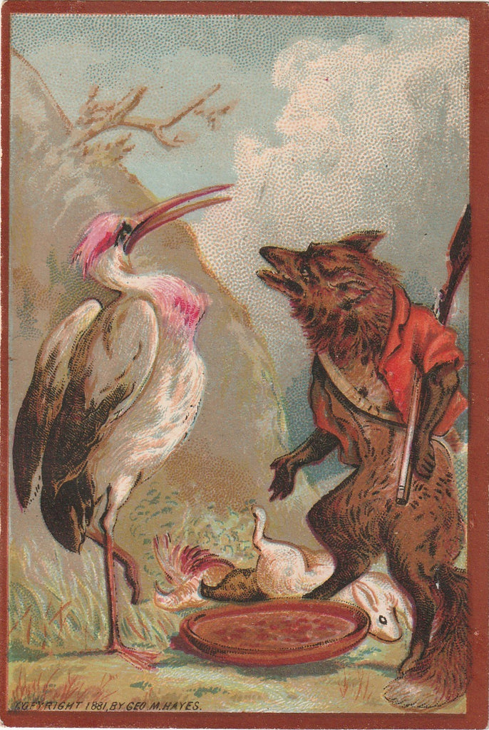 Stork and Fox Geo M Hayes 1881 Trade Card 2 of 2