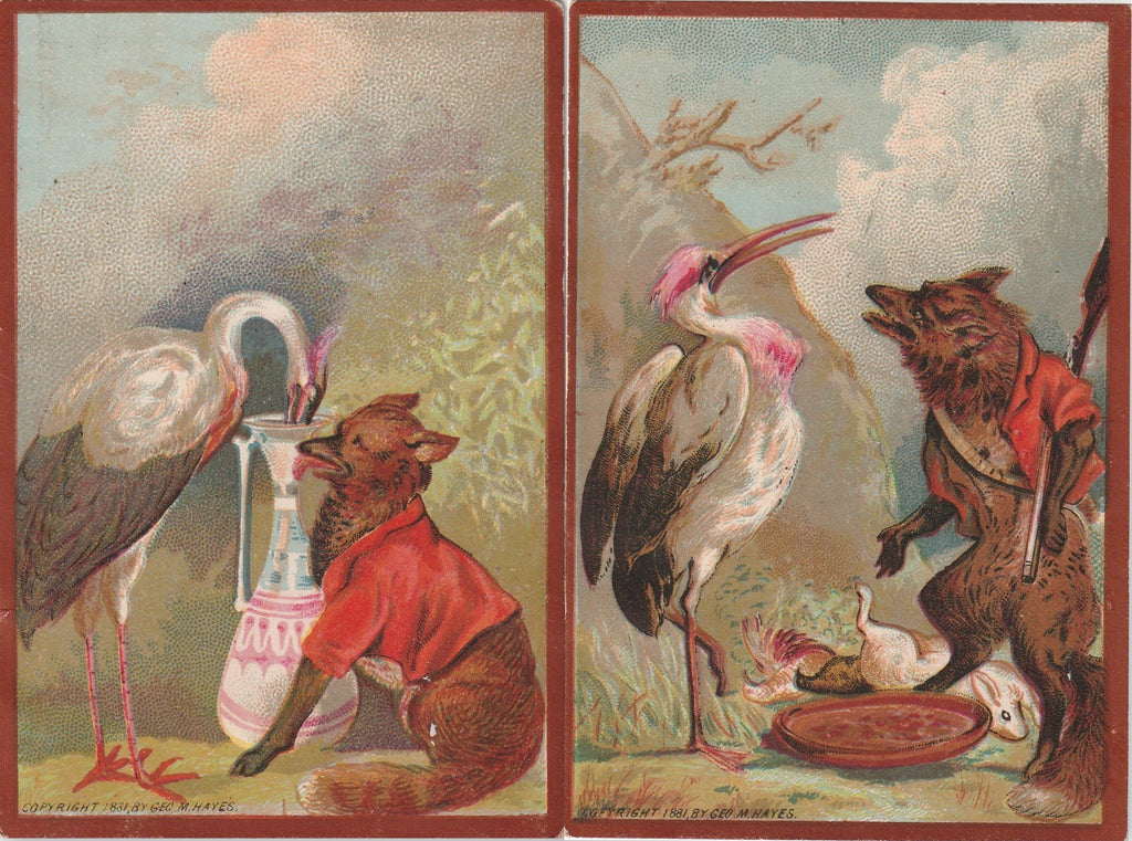 Stork and Fox Geo M Hayes 1881 Trade Cards