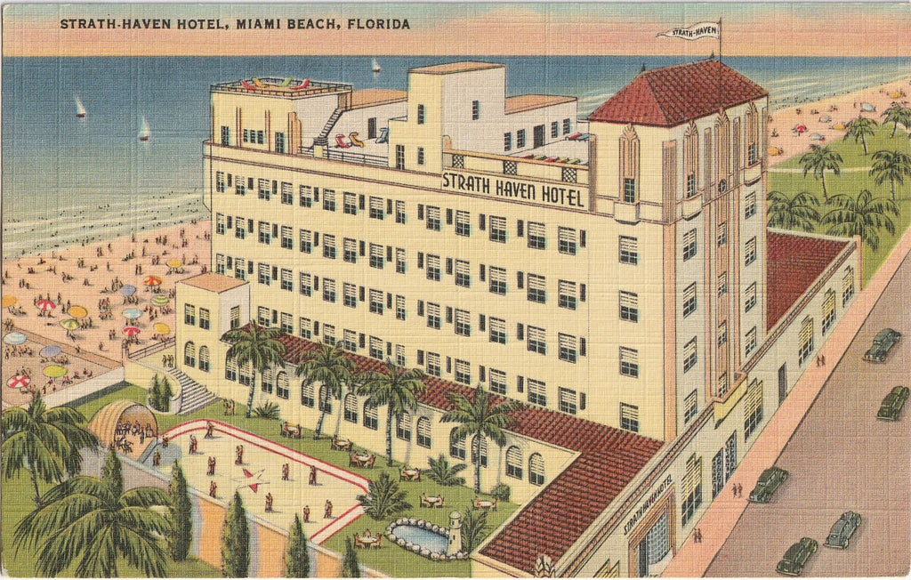 Strath-Haven Hotel Miami Beach Florida Postcard