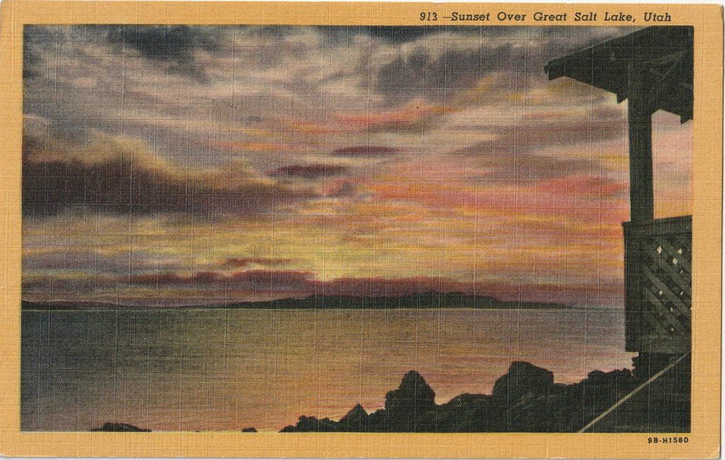 Sunset Over Great Salt Lake, Utah - Postcard, c. 1930s
