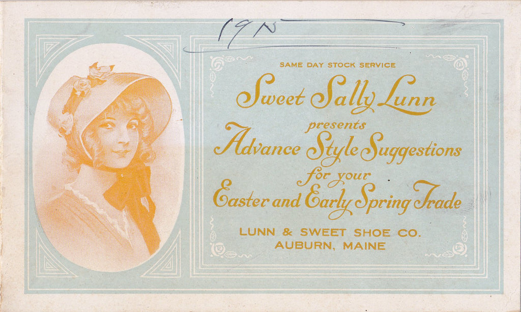 Sweet Sally Lunn- 1910s Antique Booklet- Edwardian Shoes- Easter Shoes- Spring Fashion- Auburn, Maine- Shoe Catalog