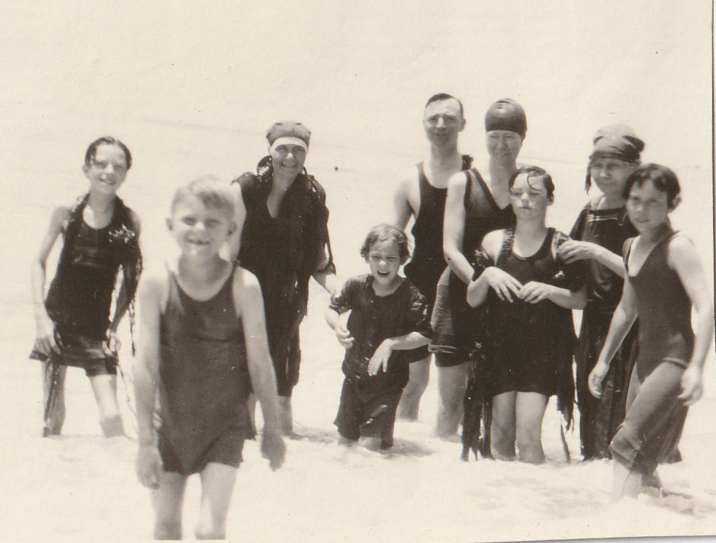 Swimsuits and Seaweed 1920s Vintage Photo Close Up 2