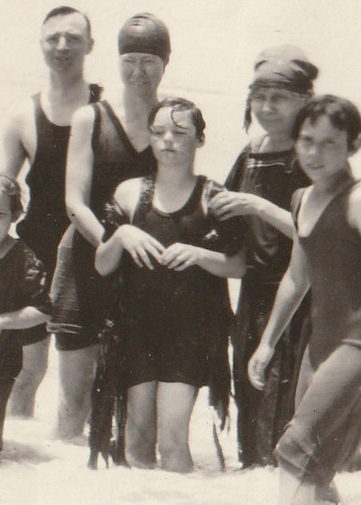 Swimsuits and Seaweed 1920s Vintage Photo Close Up 5