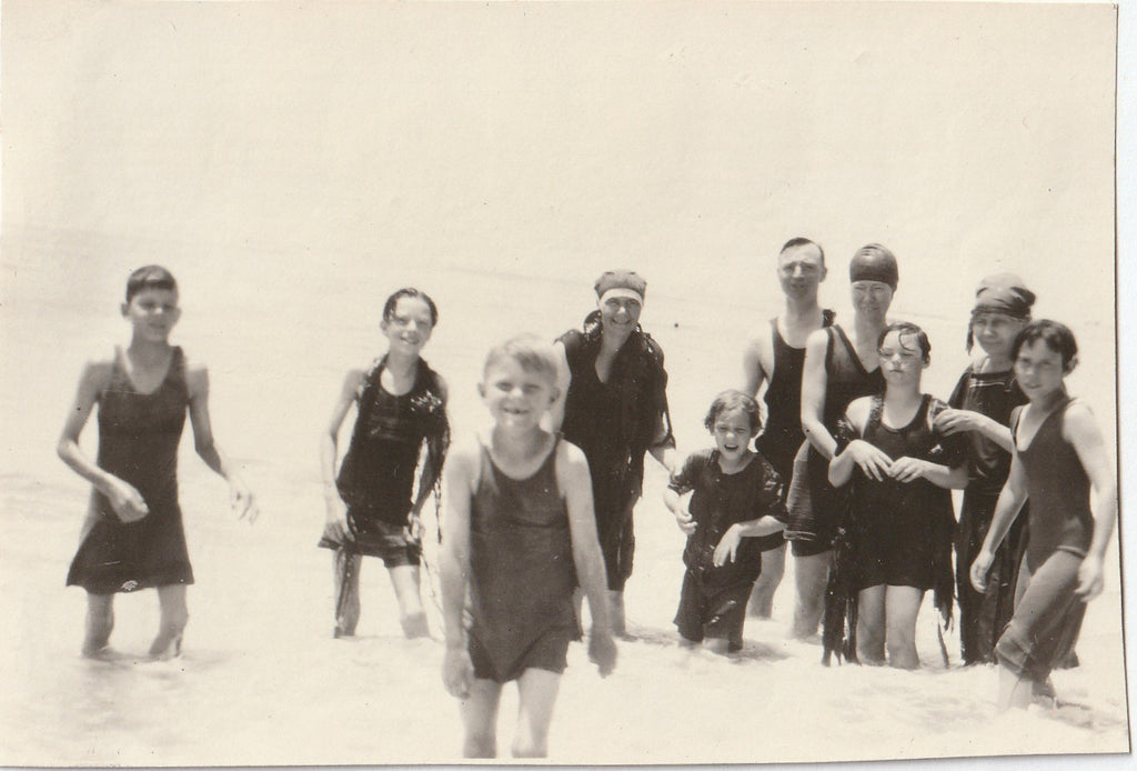 Swimsuits and Seaweed 1920s Vintage Photo