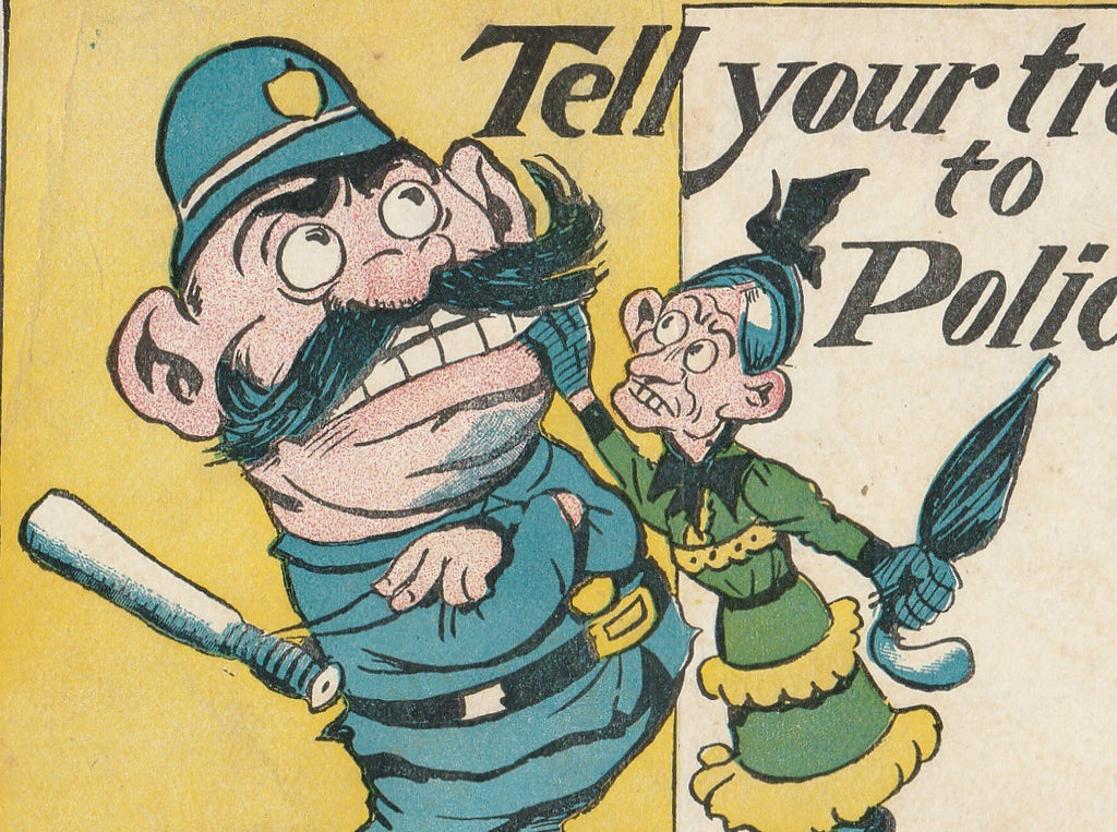 Tell Your Troubles to a Policeman Antique Postcard Close Up