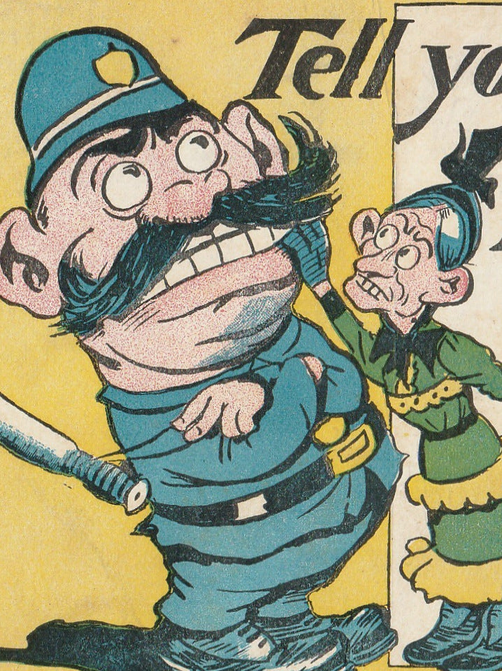 Tell Your Troubles to a Policeman Antique Postcard Close Up 2