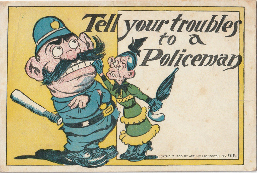 Tell Your Troubles to a Policeman Antique Postcard