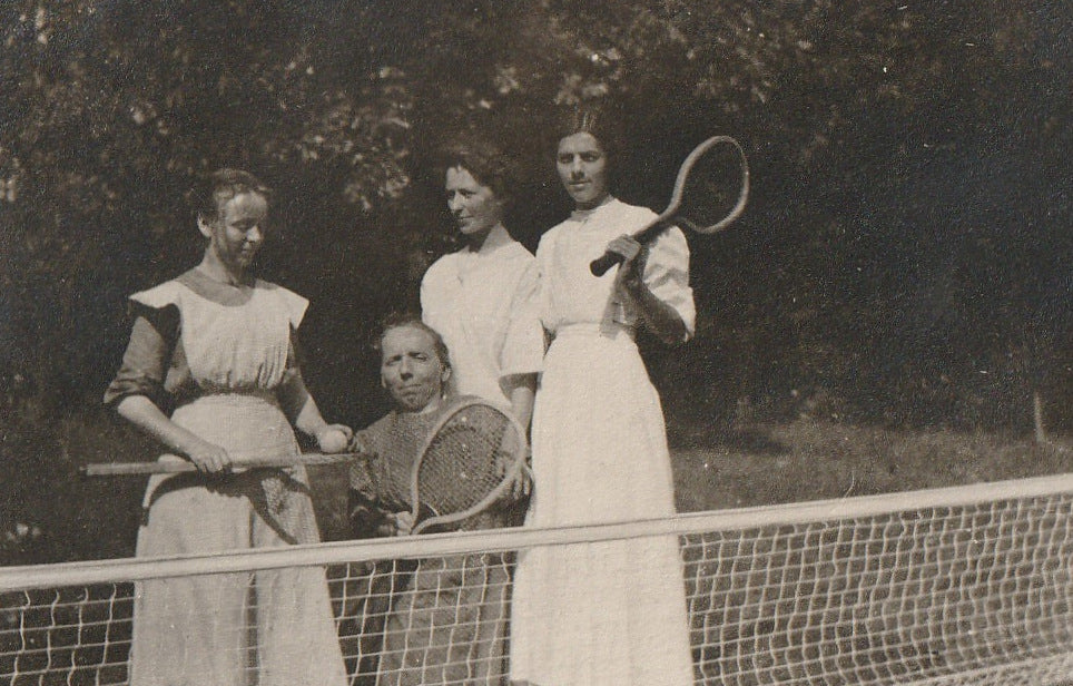 Tennis Anyone Little Person Antique Photo Close Up