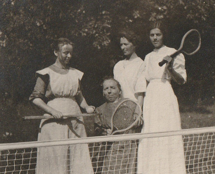 Tennis Anyone Little Person Antique Photo Close Up 2