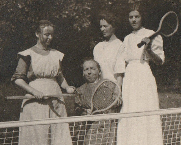Tennis Anyone Little Person Antique Photo Close Up 3