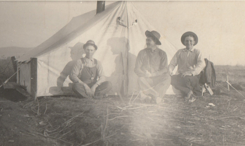 Tent Camping Boise Idaho Antique Photo RPPC Close Up