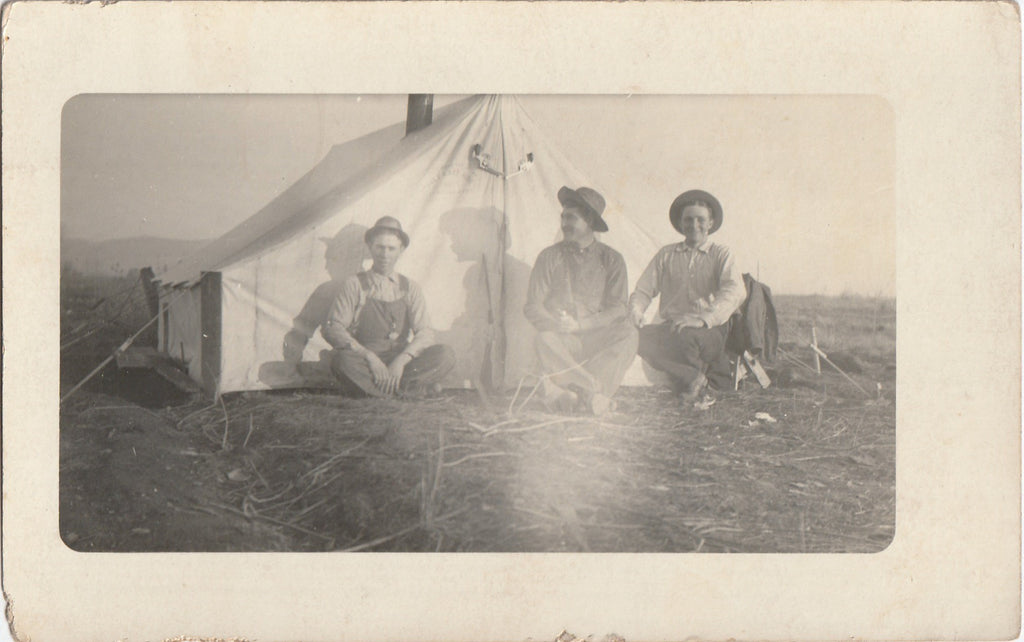 Tent Camping Boise Idaho Antique Photo RPPC