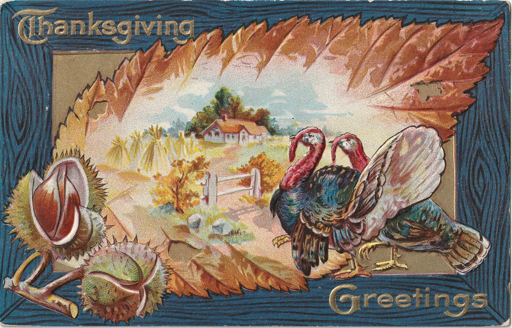 Thanksgiving Greetings - Turkeys and Chestnuts - Postcard, c. 1900s