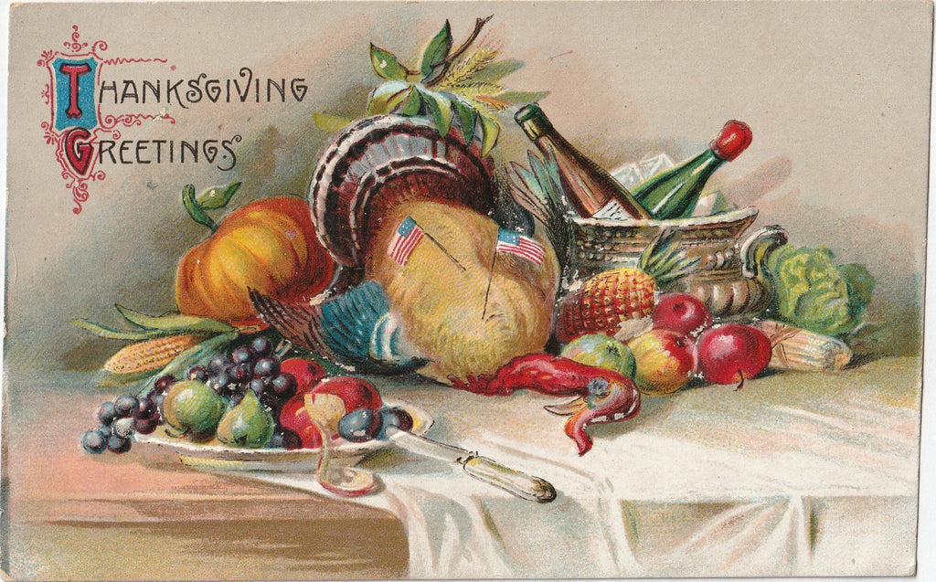 Thanksgiving Greetings - American Turkey - Postcard, c. 1900s
