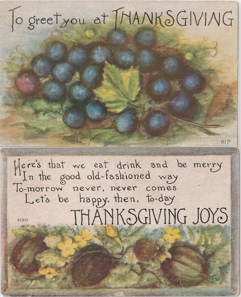 Thanksgiving Joys Postcard SET of 2