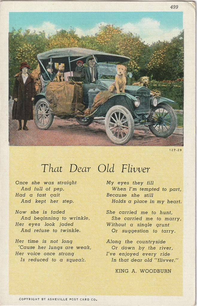 That Dear Old Flivver - King A. Woodburn - Poem Postcard, c. 1930s