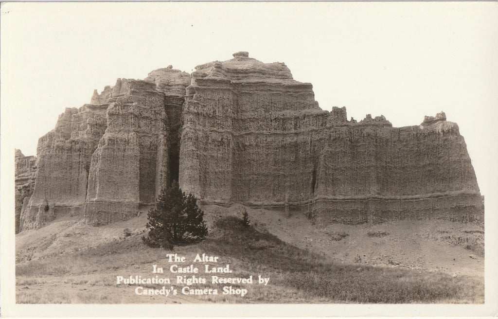 The Altar in Castle Land - Canedy's Camera Shop - Badlands, SD - RPPC, c. 1950s