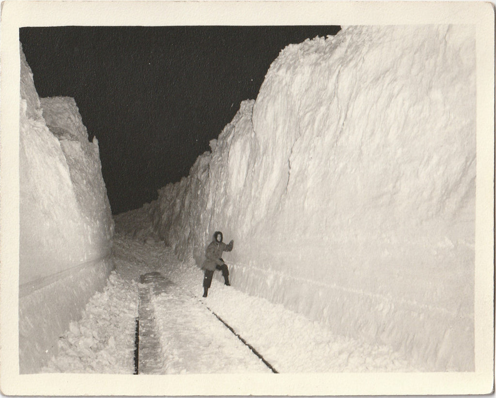 The Blizzard of 1949 - Snowbound Train - Blocked Rail Line - SET of 2 - Photos, c. 1950s