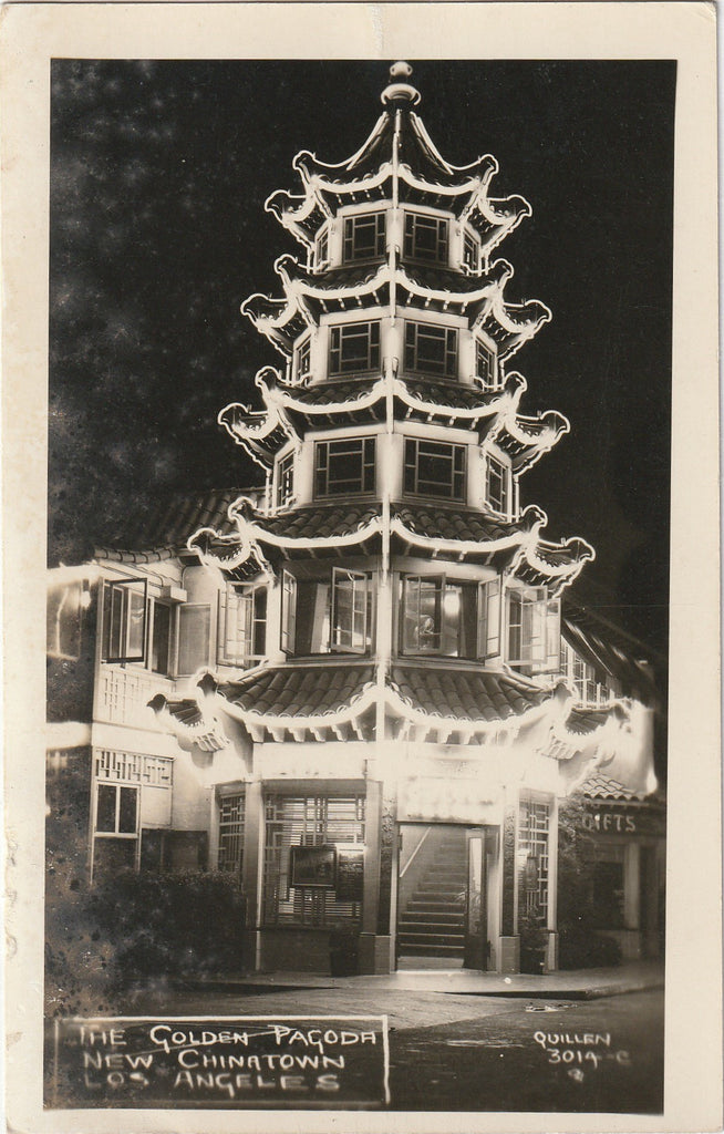 The Golden Pagoda New Chinatown Los Angeles CA RPPC