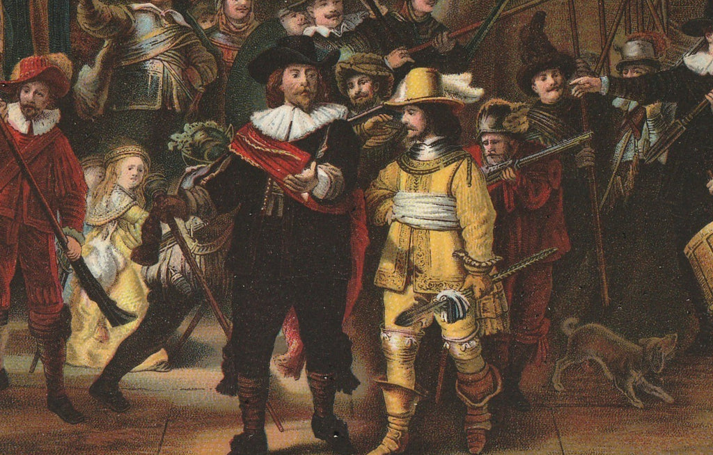 The Night Watch Rembrandt Van Rijn Antique Postcard Close Up