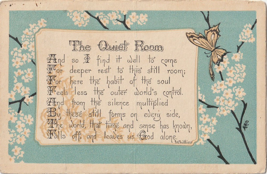 The Quiet Room Whittier Poem Postcard