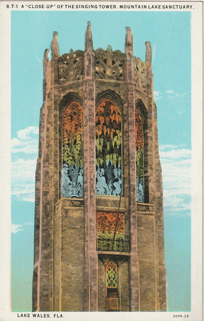 The Singing Tower, Mountain Lake Sanctuary - Lake Wales, Florida - Postcard, c 1940s