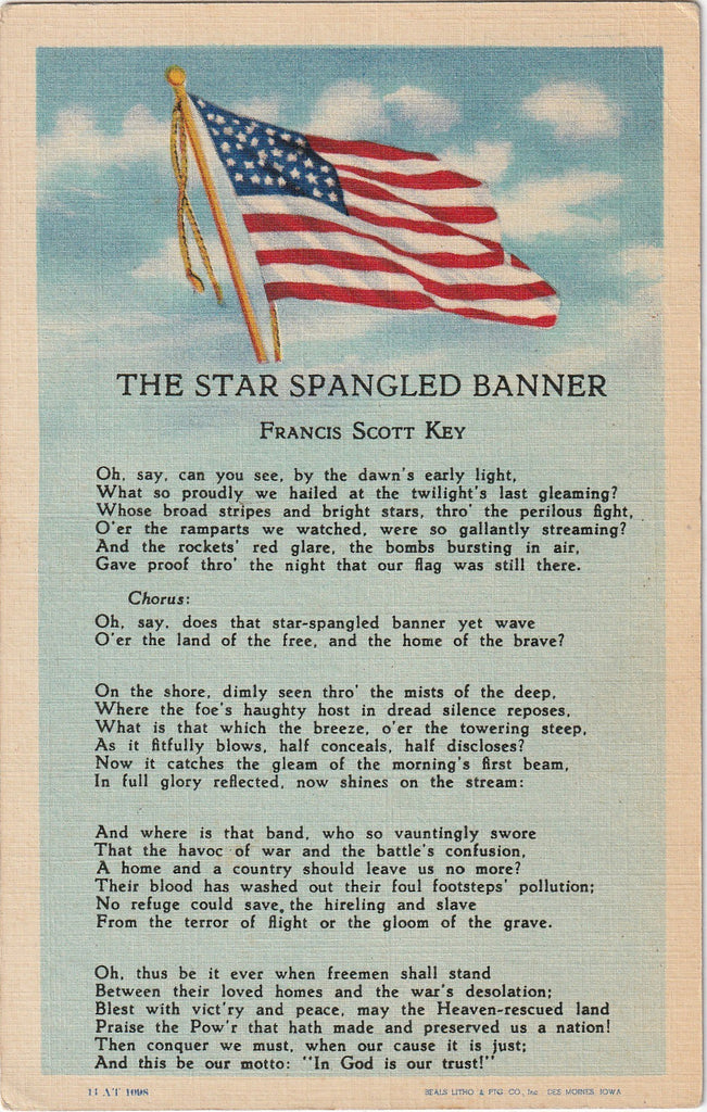 The Star Spangled Banner - Francis Scott Key - Postcard, c. 1940s