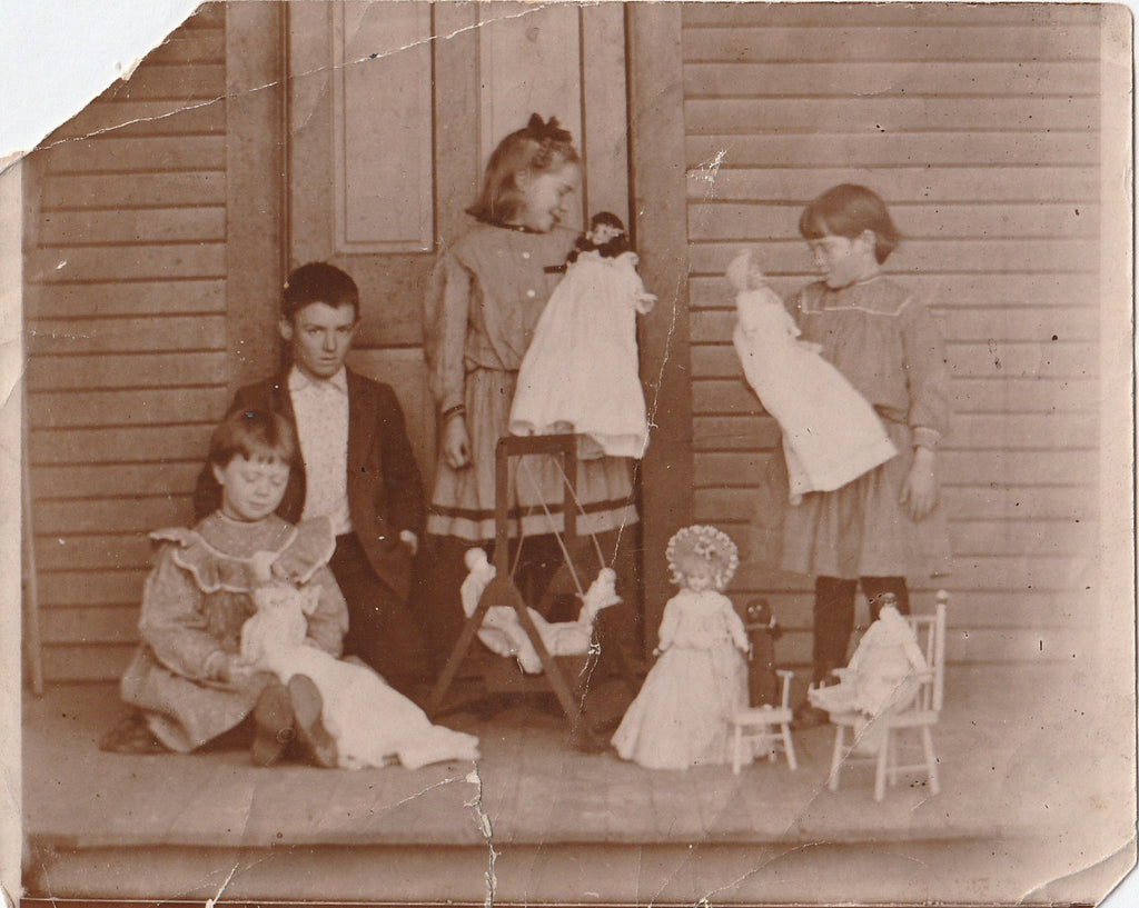 Only Boy Victorian Children with Dolls Albumen Photo 1890s